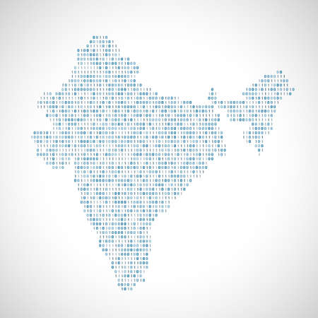 0 geography: Binary digital map of India. Silhouette from binary computer code Illustration