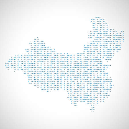 Binary digital map of China. Silhouette from binary computer code