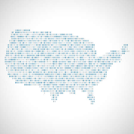 Binary digital map of USA. Silhouette from binary computer code