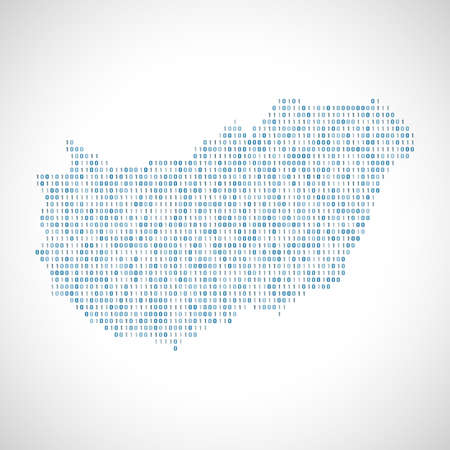 0 geography: Binary digital map of Hungary. Silhouette from binary computer code