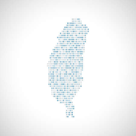 Binary digital map of Taiwan. Silhouette from binary computer code