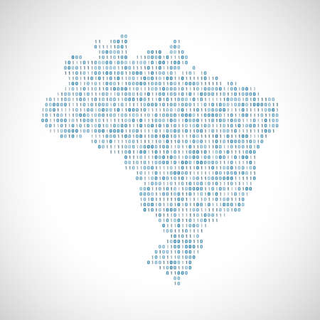 Binary digital map of Brazil. Silhouette from binary computer code