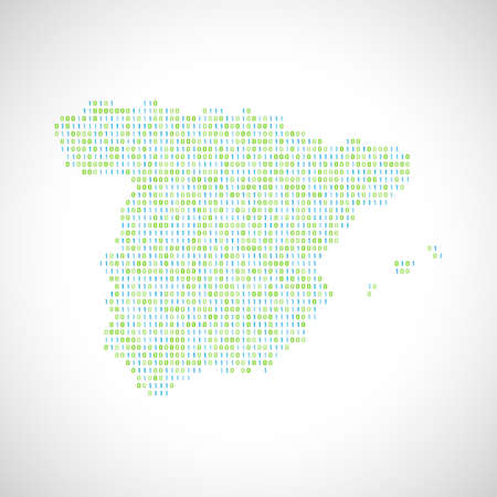 0 geography: Binary digital map of Spain. Silhouette from binary computer code Illustration