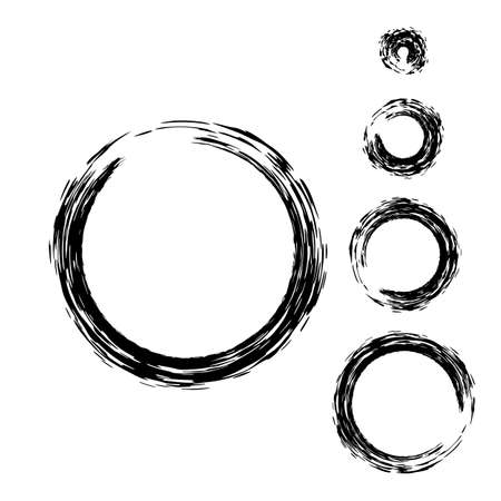 torn edge: Grunge circle with brush. Set of black round brushes. Collection of vector graphics elements for your design Illustration