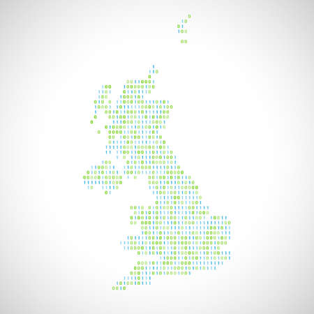 Binary digital map of United Kingdom. Silhouette from binary computer code