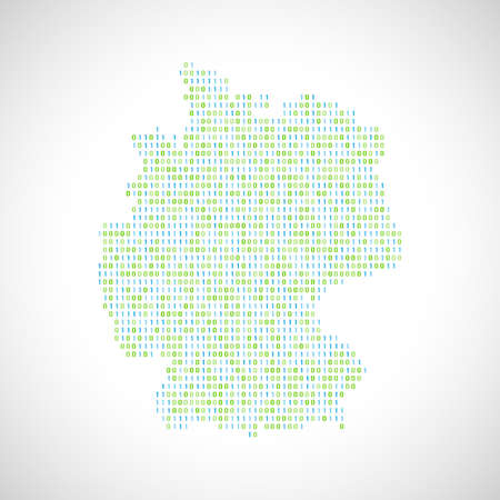 Binary digital map of Germany. Silhouette from binary computer code