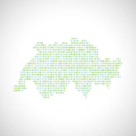Binary digital map of Switzerland. Silhouette from binary computer code