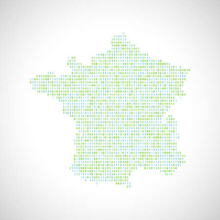 Binary digital map of France. Silhouette from binary computer code