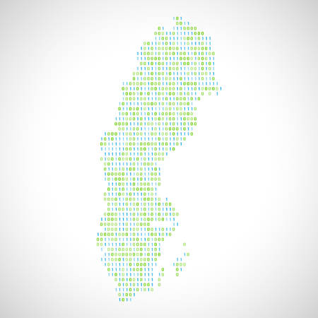 Binary digital map of Sweden. Silhouette from binary computer code