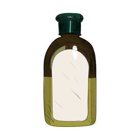 Vector color sketch of bottle. Hand draw illustration. Illustration