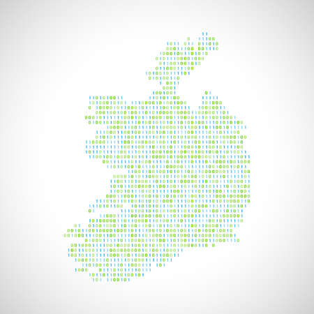 Binary digital map of Ireland, Silhouette from binary computer code