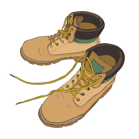 Hand drawn color sketch with army boots, Vector illustration Illustration