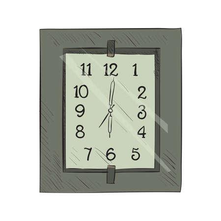 big timer: Vector color sketch of clock Hand drawn illustration.