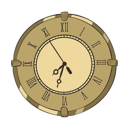 big timer: Vector color sketch of clock. Hand drawn illustration.
