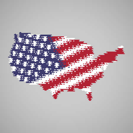 Melted flag inside the melted map of USA. Abstract clouds in the shape of the country. Vector illustration of flat design concept.