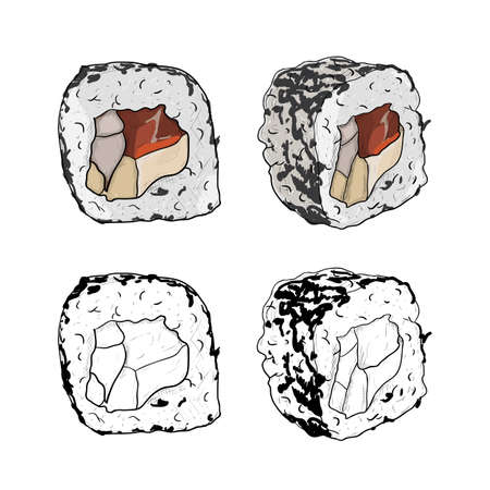 Vector sushi roll sketch in a black and white set from different sides isolated on white background.