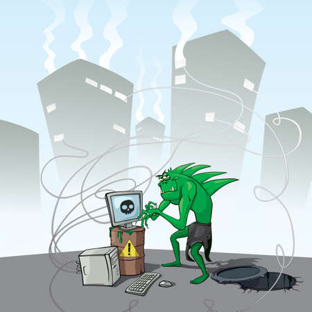 Angry cunning monster hacker infects all computers with a virus. Green goblin climbed out of the sewer. Infected computers smoking from windows of houses. Concept vector illustration Illustration