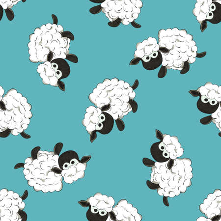 Seamless colorful pattern. Vector background with white sheeps