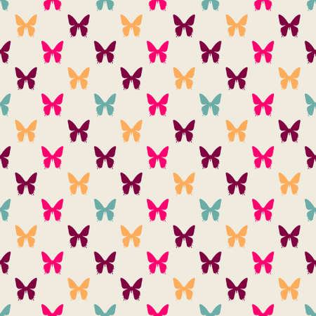 Seamless colorful pattern. Vector background with flat style butterflies Illustration