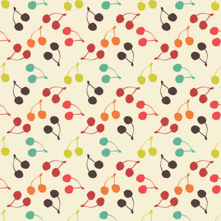 simple background: Seamless colorful pattern. Vector background with flat style cherries Illustration