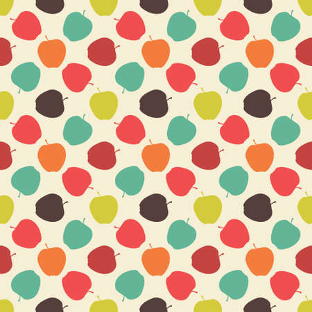 simple background: Seamless colorful pattern. Vector background with flat style apples Illustration