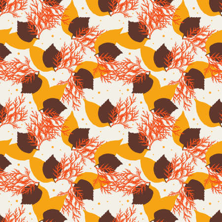 simple background: Seamless autumn colorful pattern. Abstract floral wallpaper. Vector background illustration