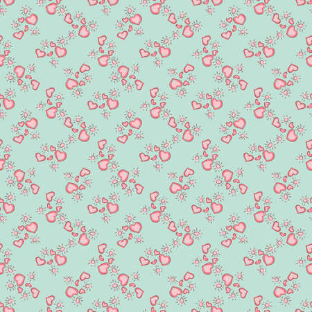 simple background: Seamless colorful pattern. Vector background with hearts Illustration