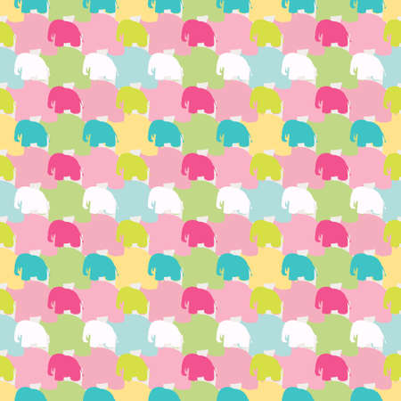 background texture: Seamless colorful wallpaper pattern. Abstract vector background with elephants in flat style. Patterned paper for scrapbook albums.