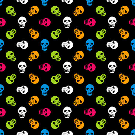 background texture: Seamless colorful halloween pattern. Day of The Dead vector background with sugar skulls Illustration
