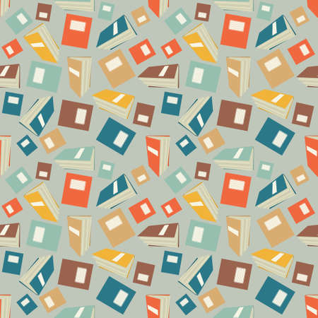 background texture: Seamless colorful wallpaper pattern. Abstract vector background with exercise books. Patterned paper for scrapbook albums Illustration