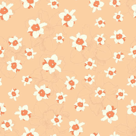 background texture: Seamless colorful pattern. Vector background with flowers in retro style. Patterned paper for scrapbook albums.