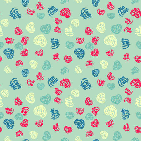 Seamless colorful pattern. Vector background with hand drawn I love you words. Patterned paper for scrapbook albums. Valentines day backdrop.