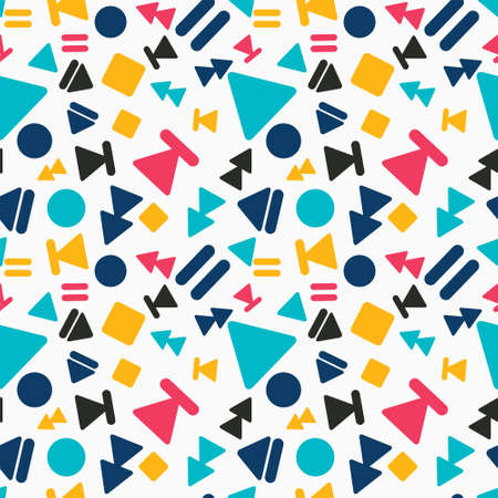 Seamless colorful geometric pattern. Vector abstract background with different shapes. Patterned paper wallpaper for scrapbooking. Memphis style