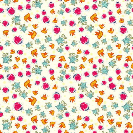 Seamless colorful pattern. Vector floral background with flowers and bees. Patterned paper for scrapbook albums. Vector abstract flowers background. Illustration
