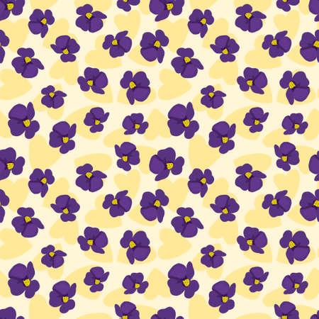 Seamless cute floral vector pattern background. Purple flower wallpaper Illustration