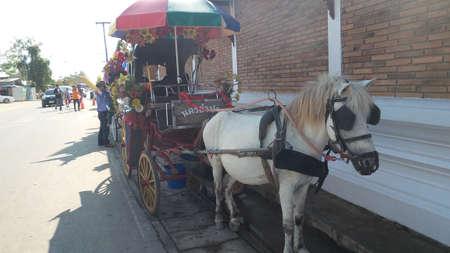 hackney carriage: LAMPANG THAILAND - DEC 30 : Antique carriage at Pra Thard Lhuang Lampang on December 30, 2014 in Lampang,Thailand