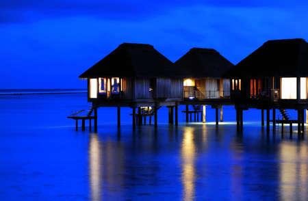 The Charming Night scenes of Water Villa in Maldives photo