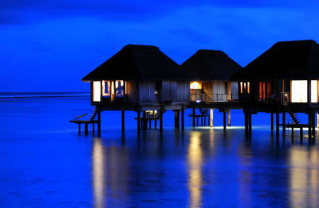 The Charming Night scenes of Water Villa in Maldives