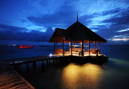 The Beautiful Night of Water Villa