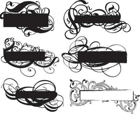 grungy ornamental banners Vector