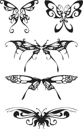 farfalla nera: farfalla nera silhouette Vettoriali
