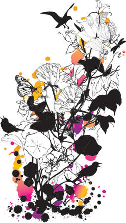 flying leaves: abstract floral design with birds