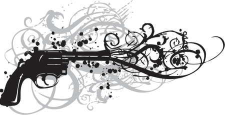 vintage gun with grungy swirls