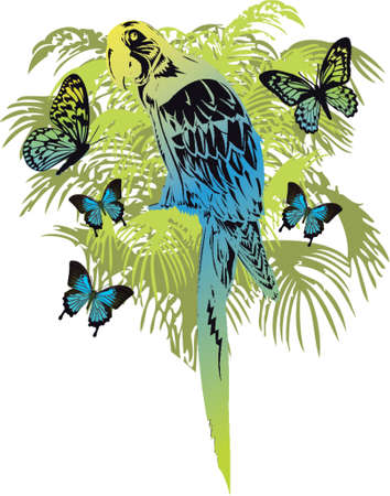 dingbat: tropical forest with parrot and butterflies