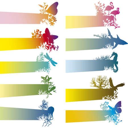 tiburones: pancartas coloridas con siluetas de animales
