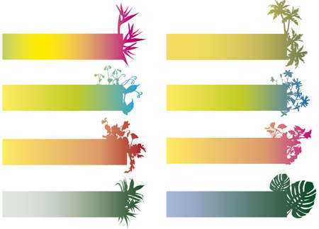colorful banners with flower silhouettes Stock Vector - 1778994