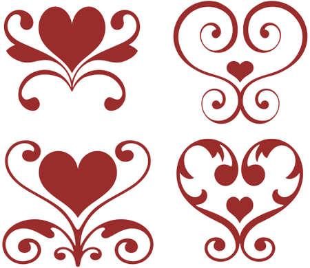 Ornamental hearts  Vector