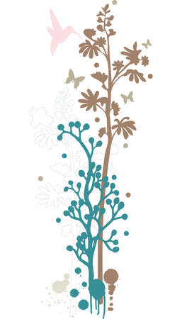 floral background with humming bird Vector