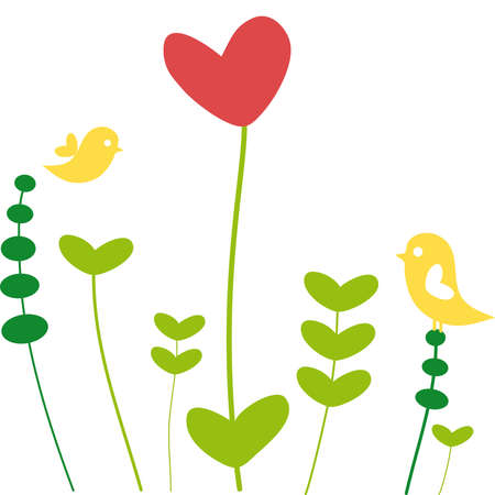 flora vector: heart flower with birds