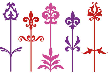 stencil: ornamental baroque flowers  Illustration